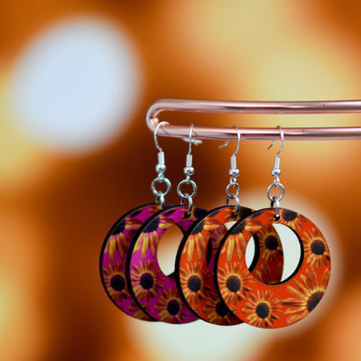 Another view of pink and orange retro sunflower earrings | Wear the Wonder