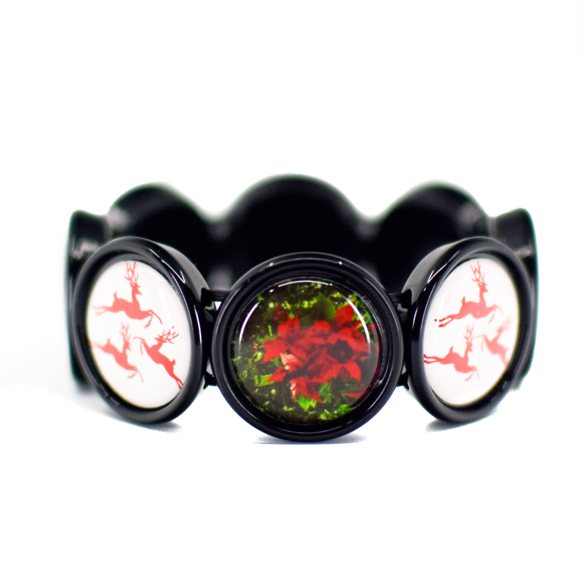 Front view of Reindeer & Classic Poinsettia Stretch Bracelet | Wear the Wonder
