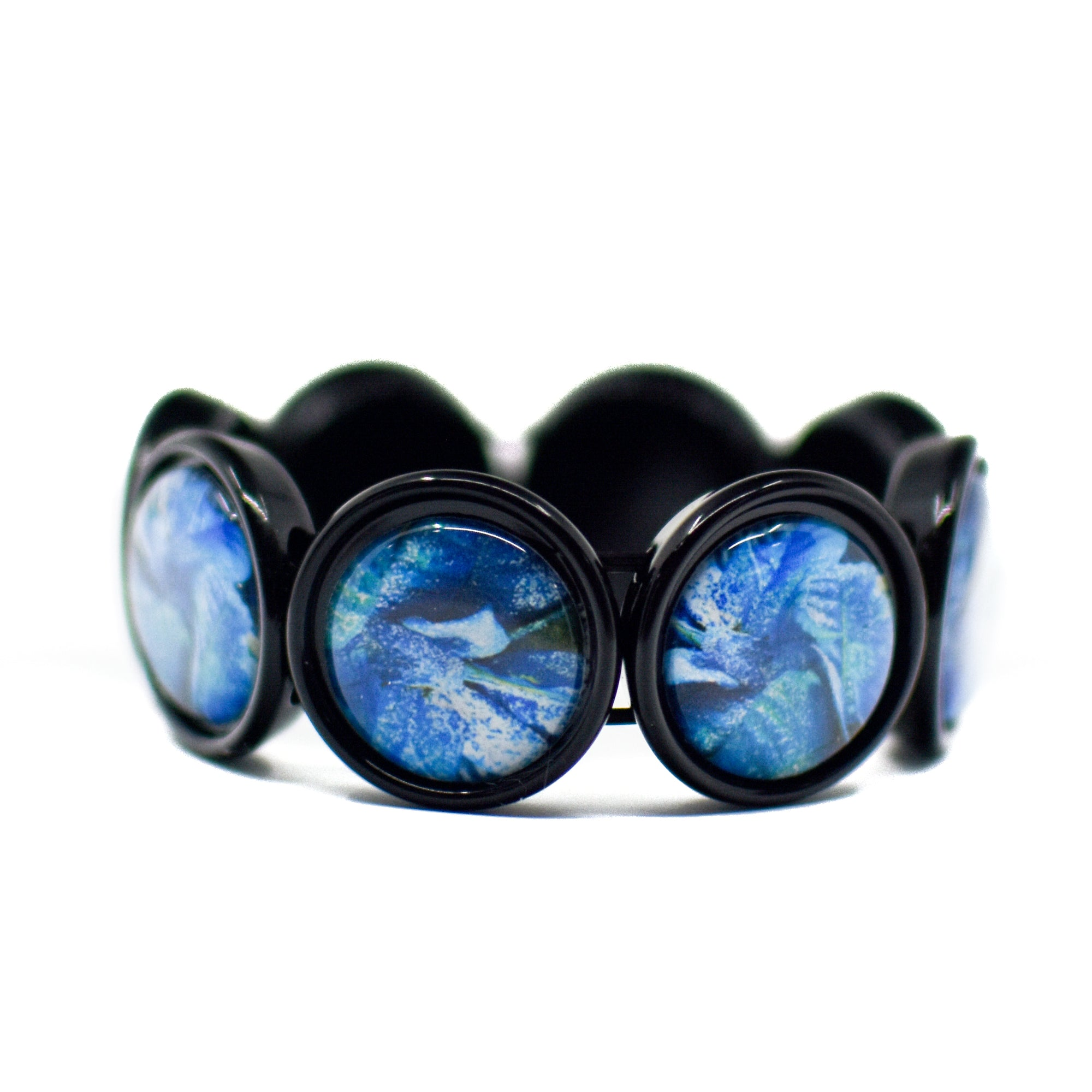 Front view of Blue Poinsettia Stretch Bracelet | Wear the Wonder