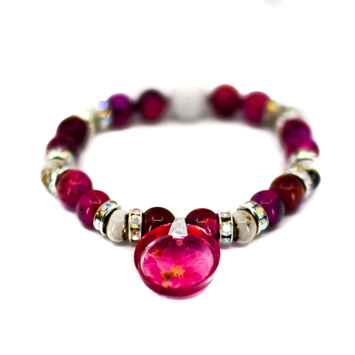 Front view of Pink Poinsettia Beaded Stretch Bracelet | Wear the Wonder