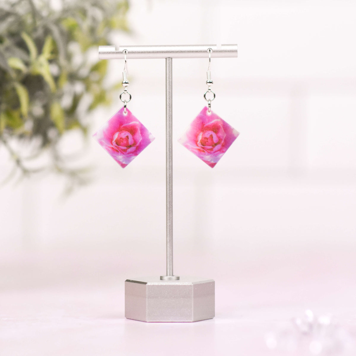 Bright Pink Rose Mother of Pearl Earrings on Pink Marble and Subway Tile Background - Wear the Wonder