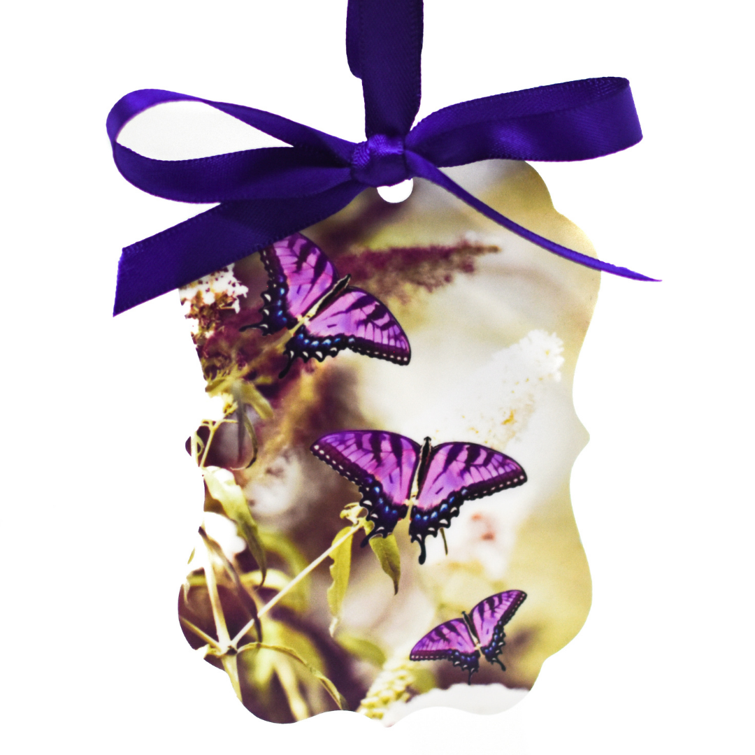 Front view of Lavender Butterfly Aluminum Ornament | Wear the Wonder