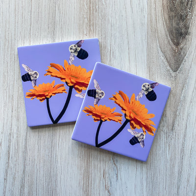 Set of 2 Busy Bee Lavender Coasters | Wear the Wonder