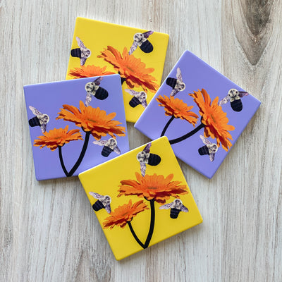 2 yellow and 2 lavender | Busy Bee Coasters | Wear the Wonder