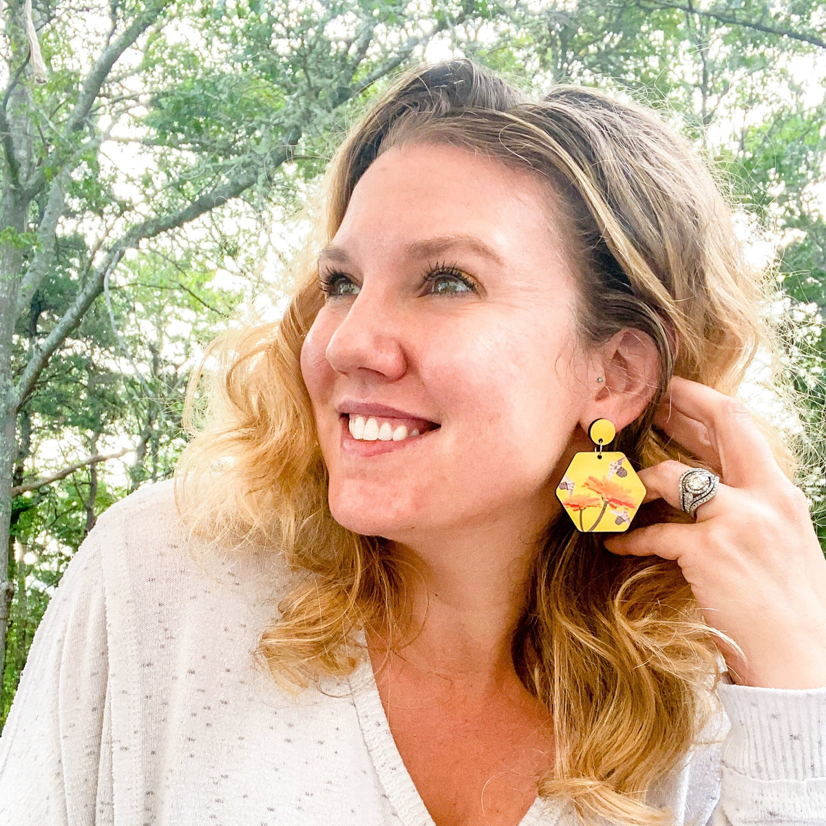 Lifestyle photo yellow busy bee earring | Wear the Wonder