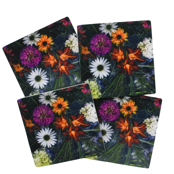 Flowers Floating Coasters (Set of 4)