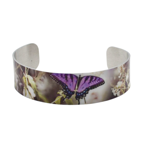 Summertime Purple Butterfly Cuff Bracelet