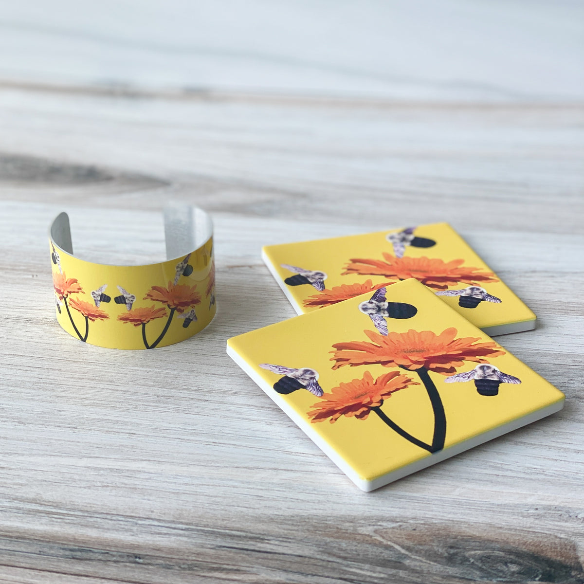 Busy Bee Cuff & matching coasters | Wear the Wonder