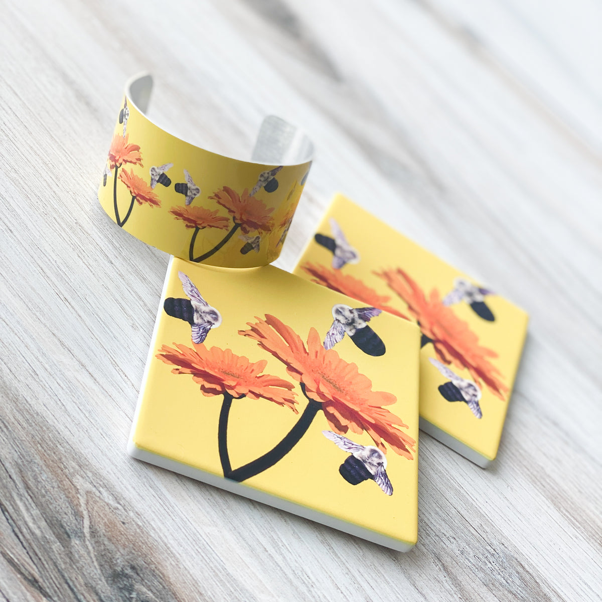 View 3 Busy Bee Cuff & matching coasters | Wear the Wonder