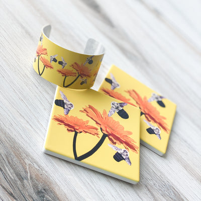 Set of 2 Busy Bee Coasters and matching cuff | Wear the Wonder