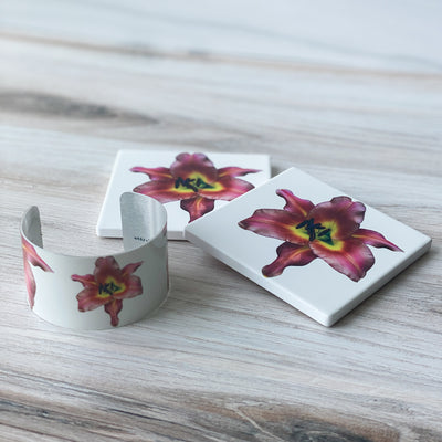 View 2 of Pink Lily Cuff and Coasters | Wear the Wonder