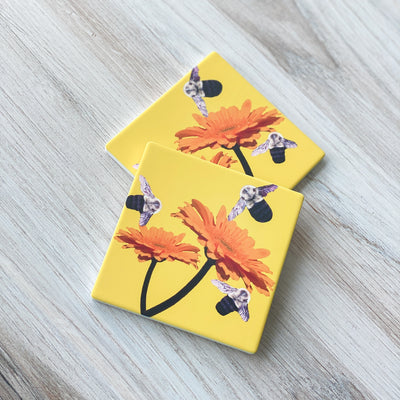 View of 2 Busy Bee Coasters | Wear the Wonder