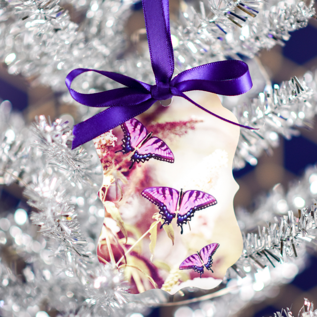 Lavender Butterfly Aluminum Ornament in a Christmas Tree | Wear the Wonder