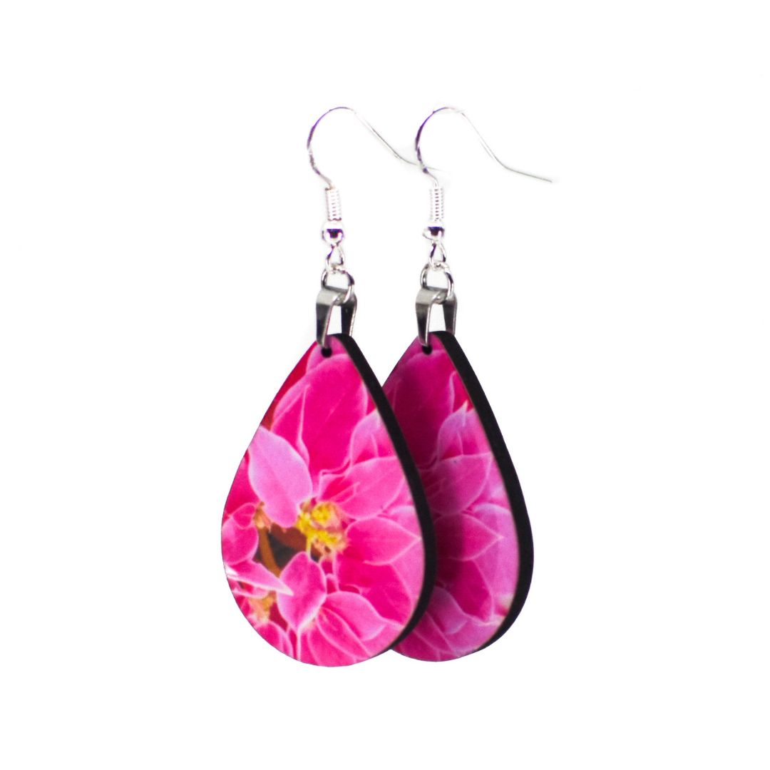 Side view of Pink Poinsettia Earrings | Wear the Wonder