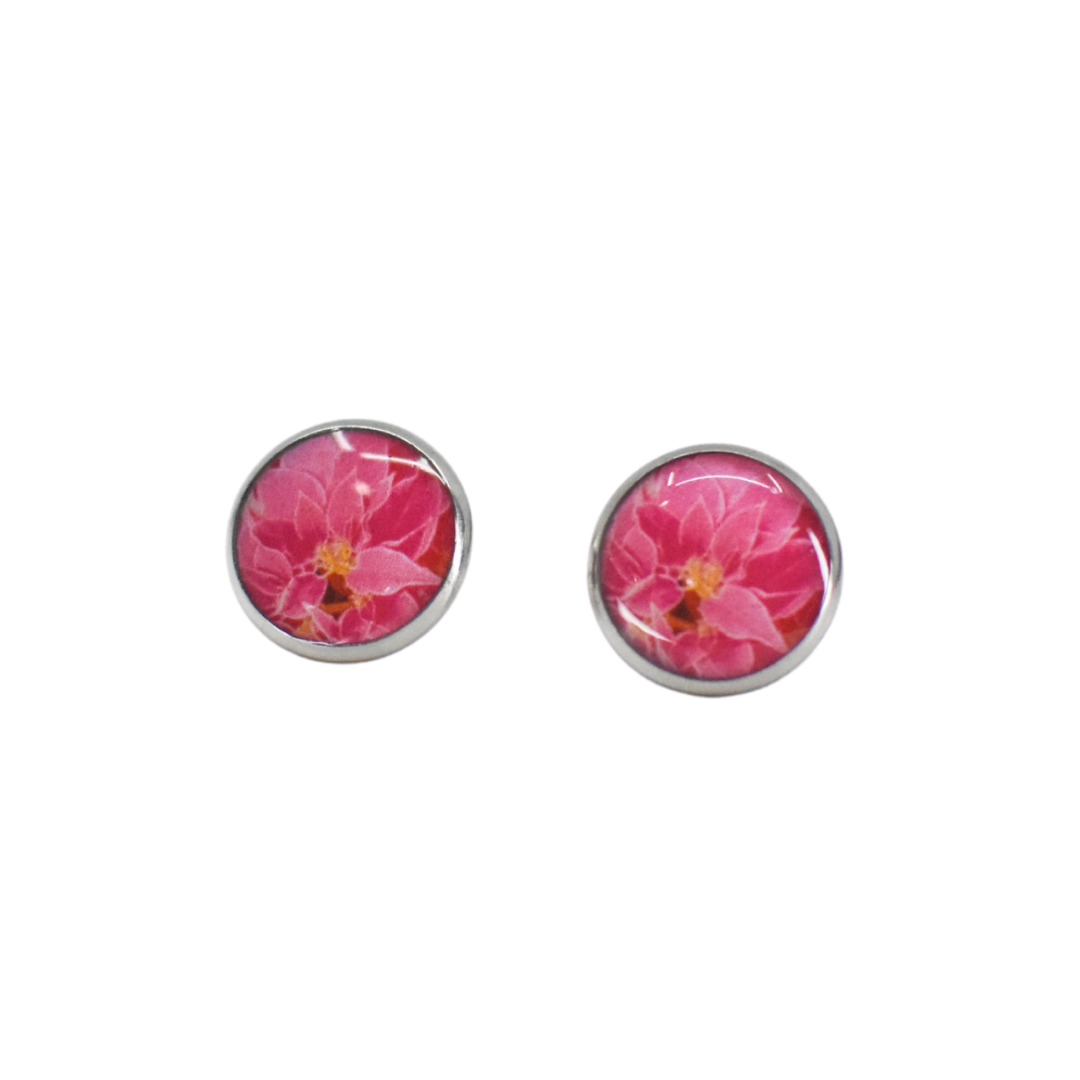 Pink Poinsettia Stud Earring on White Background - Wear the Wonder
