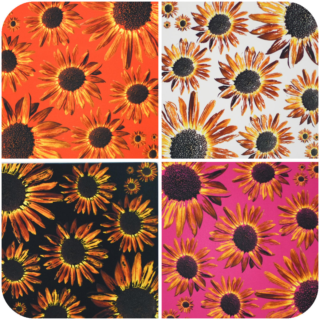 Standard view of all 4 sunflower coasters | Wear the Wonder