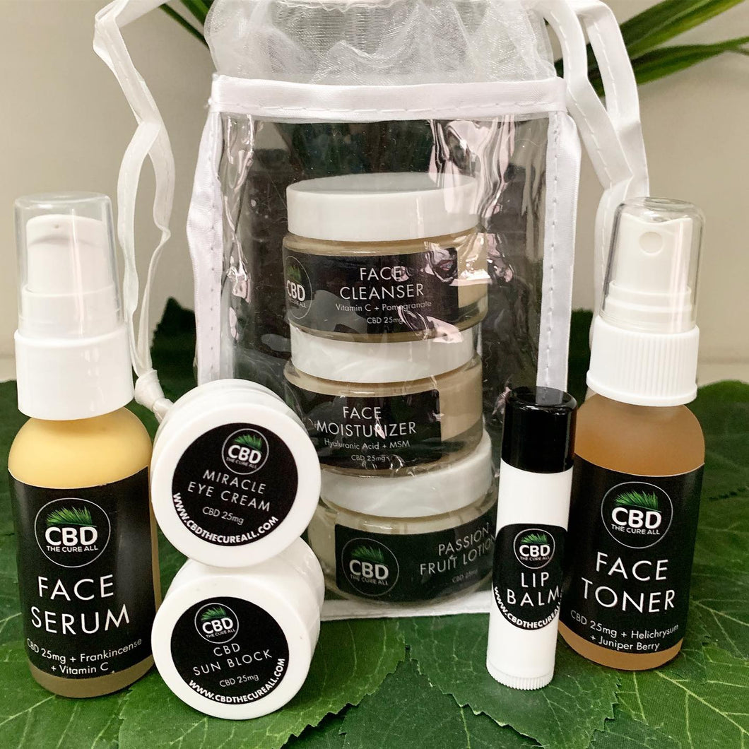 CBD 25MG FACE SKINCARE TRAVEL SET with Dragons Blood
