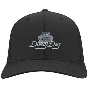 Dusty Dog silver embroidered logo C813 Port Authority Fullback Flex Fit Twill Baseball Cap