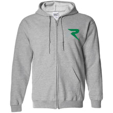 Load image into Gallery viewer, R silver & green embroidered G186 Gildan Zip Up Hooded Sweatshirt