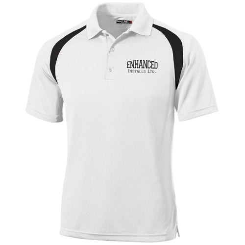Enhanced Installs black embroidered T476 Sport-Tek Moisture-Wicking Tag-Free Golf Shirt