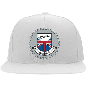 JC's British silver embroidered logo 6297F Flat Bill Fulback Twill Flexfit Cap