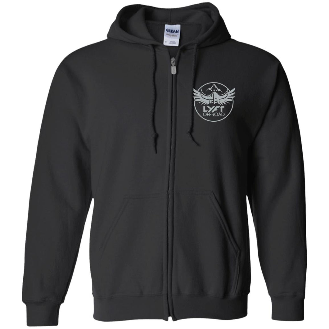 Lyft Off Road silver embroidered G186 Gildan Zip Up Hooded Sweatshirt