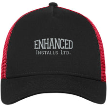 Load image into Gallery viewer, Enhanced Installs silver embroidered NE205 New Era® Snapback Trucker Cap