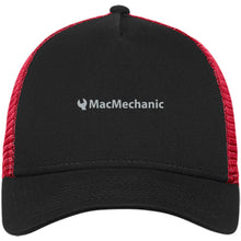 Load image into Gallery viewer, MacMechanic silver embroidered logo NE205 New Era® Snapback Trucker Cap