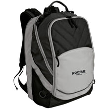 Load image into Gallery viewer, Roxtar Trux black and silver embroidered logo BG100 Port Authority Laptop Computer Backpack