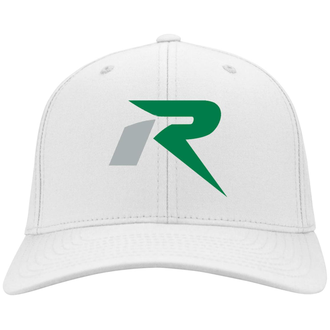 R silver & green embroidered C813 Port Authority Fullback Flex Fit Twill Baseball Cap