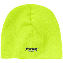 Load image into Gallery viewer, Roxtar Trux black and silver embroidered logo CP91 100% Acrylic Beanie