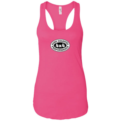 HCP4x4 black & white logo 2-sided print NL1533 Next Level Ladies Ideal Racerback Tank