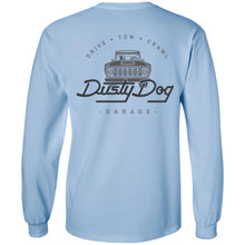 Load image into Gallery viewer, Dusty Dog gray logo 2-sided print G240 Gildan LS Ultra Cotton T-Shirt