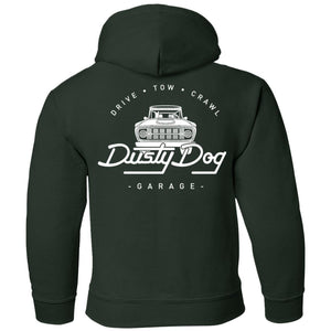 Dusty Dog white logo 2-sided print G185B Gildan Youth Pullover Hoodie