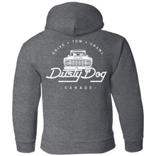 Load image into Gallery viewer, Dusty Dog white logo 2-sided print G185B Gildan Youth Pullover Hoodie