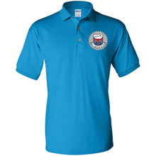 Load image into Gallery viewer, JC's British silver embroidered logo G880 Gildan Jersey Polo Shirt