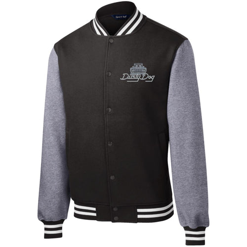 Dusty Dog silver embroidered logo ST270 Sport-Tek Fleece Letterman Jacket
