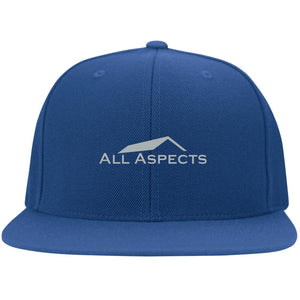 All Aspects Property silver embroidered 6297F Flat Bill Fulback Twill Flexfit Cap