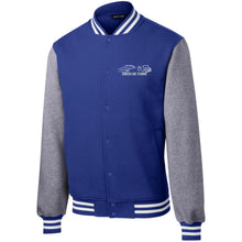 Load image into Gallery viewer, High Octane white & silver embroidered logo ST270 Sport-Tek Fleece Letterman Jacket