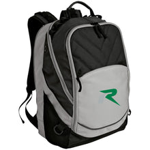 Load image into Gallery viewer, R silver & green embroidered BG100 Port Authority Laptop Computer Backpack