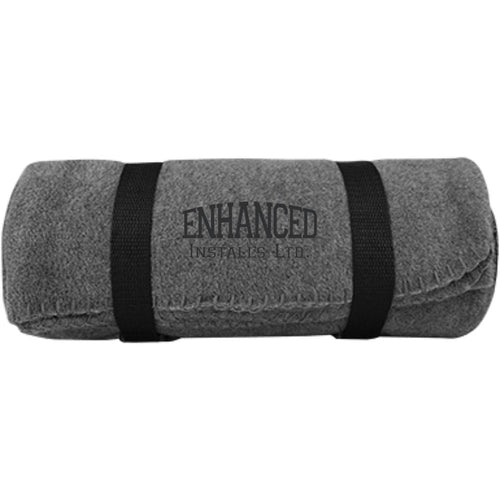 Enhanced Installs black embroidered BP10 Port & Co. Fleece Blanket