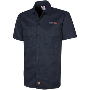 Pride white and orange embroidered logo 1574 Men's Short Sleeve Workshirt