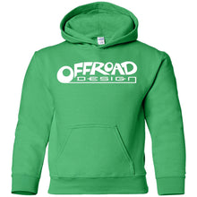 Load image into Gallery viewer, Offroad Design white logo G185B Gildan Youth Pullover Hoodie