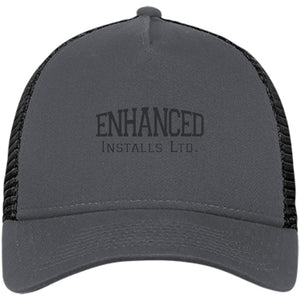 Enhanced Installs black embroidered NE205 New Era® Snapback Trucker Cap