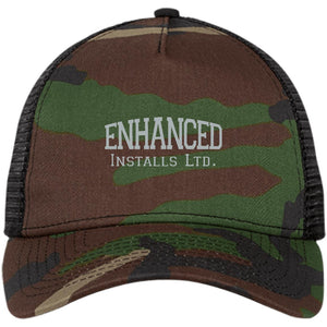 Enhanced Installs silver embroidered NE205 New Era® Snapback Trucker Cap