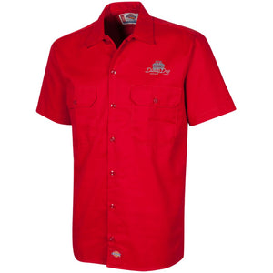 Dusty Dog silver embroidered logo 1574 Dickies Men's Short Sleeve Workshirt