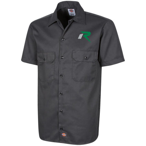 R silver & green embroidered 1574 Dickies Men's Short Sleeve Workshirt