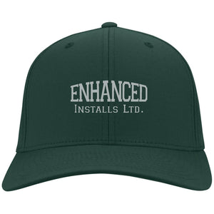 Enhanced Installs silver embroidered C813 Port Authority Fullback Flex Fit Twill Baseball Cap