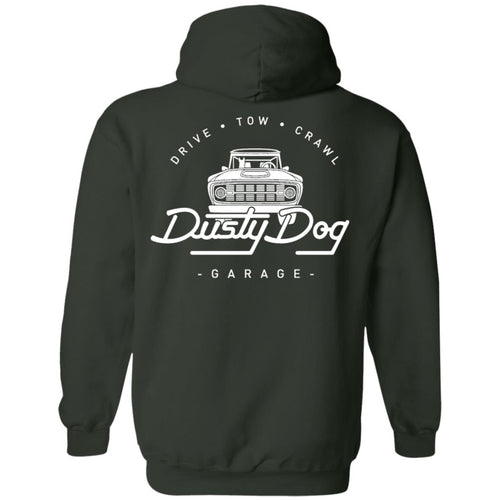 Dusty Dog white logo 2-sided print G185 Gildan Pullover Hoodie 8 oz.