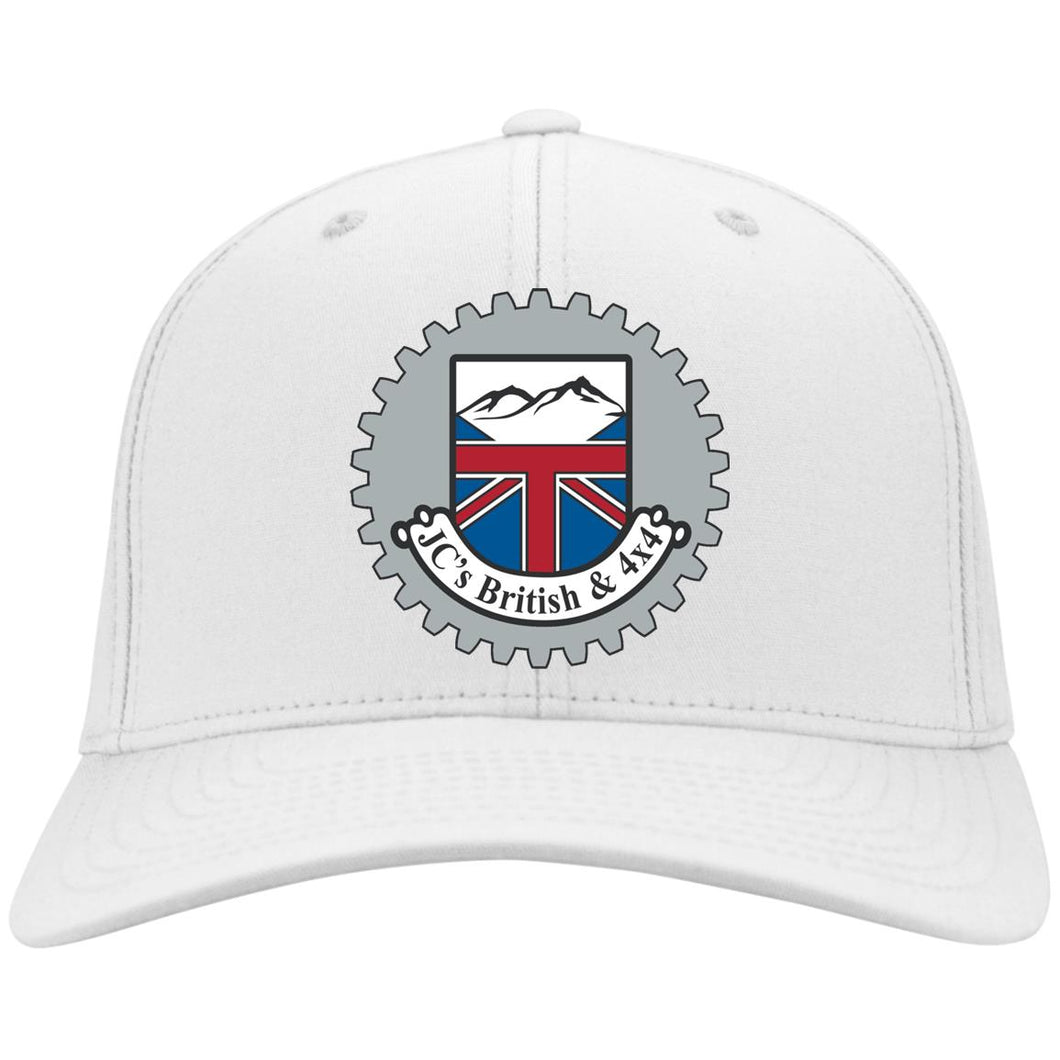 JC's British silver embroidered logo C813 Port Authority Flex Fit Twill Baseball Cap